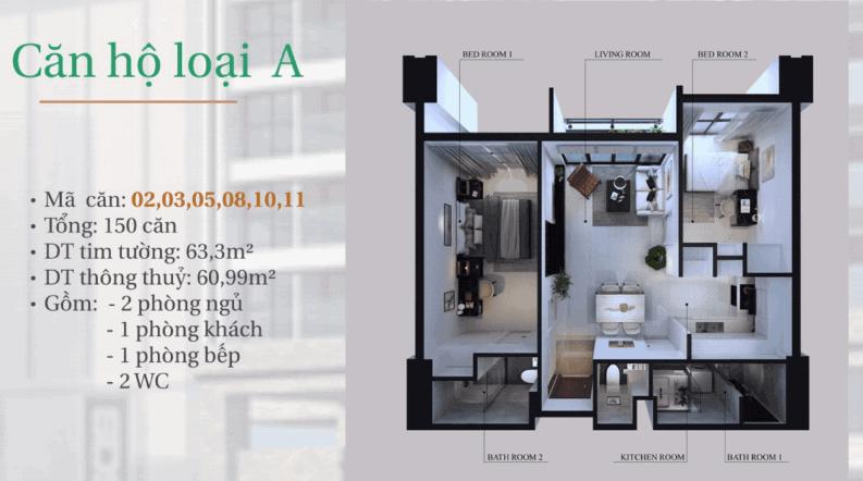 dự án căn hộ hiyori-căn hộ loại A